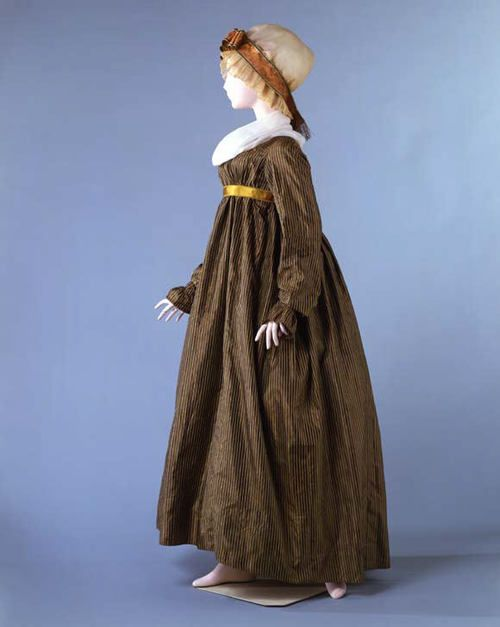 pinstriped silk dress dating from between 1805 and 1810