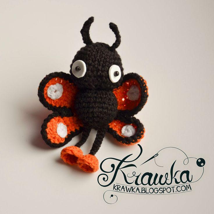 Krawka: Potted plant decoration - Monarch butterfly free crochet pattern