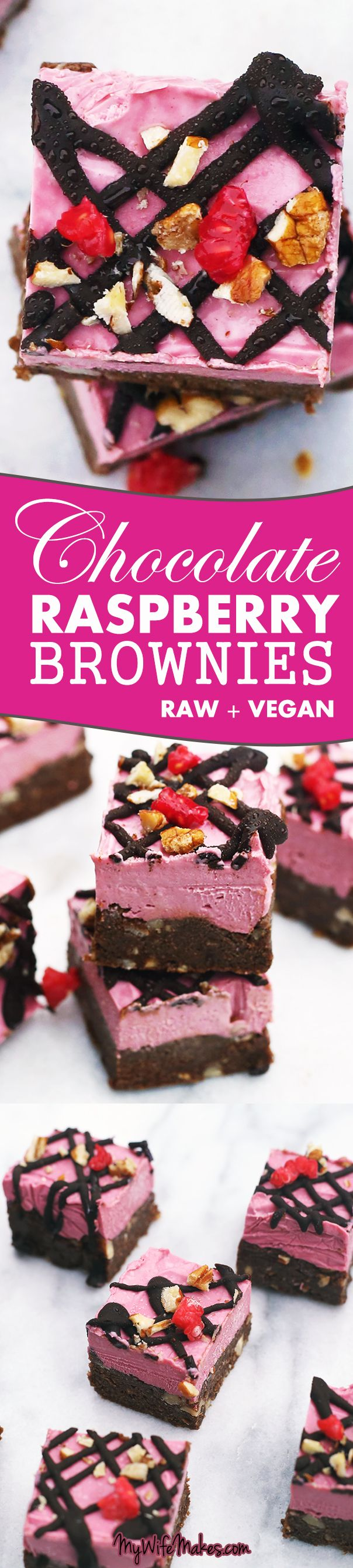 Raw Vegan Chocolate Raspberry Brownies made up of a raw chocolate brownie base, filled with delicious nuts, and topped with creamy raw raspberry cheesecake.