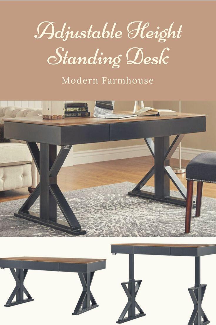 Modern Farmhouse adjustable height standing desk #homeoffice #ad