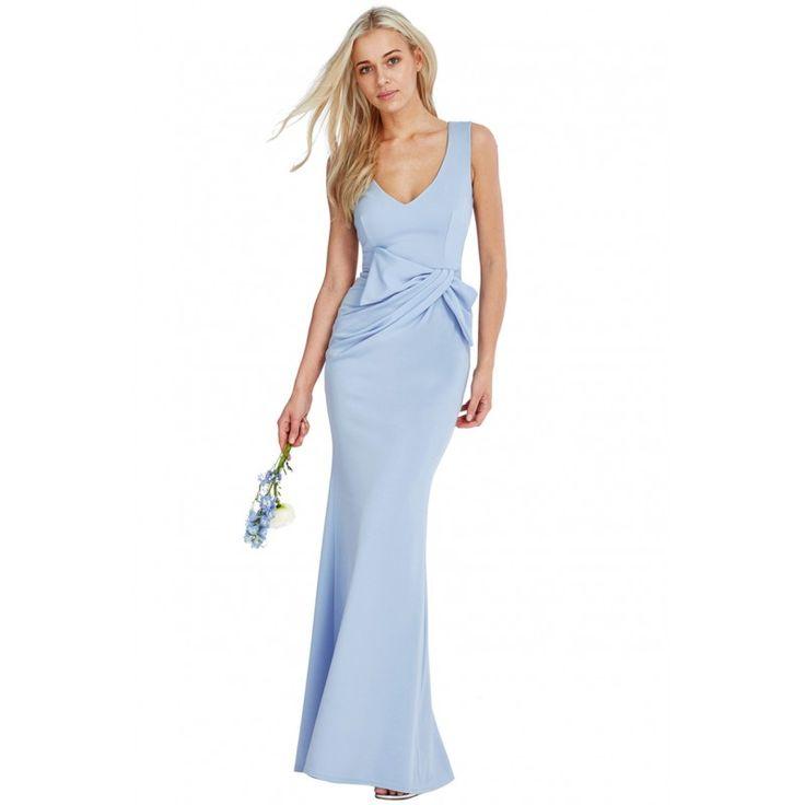 Wyszczuplająca, długa sukienka na wesele w pięknym błękitnym kolorze