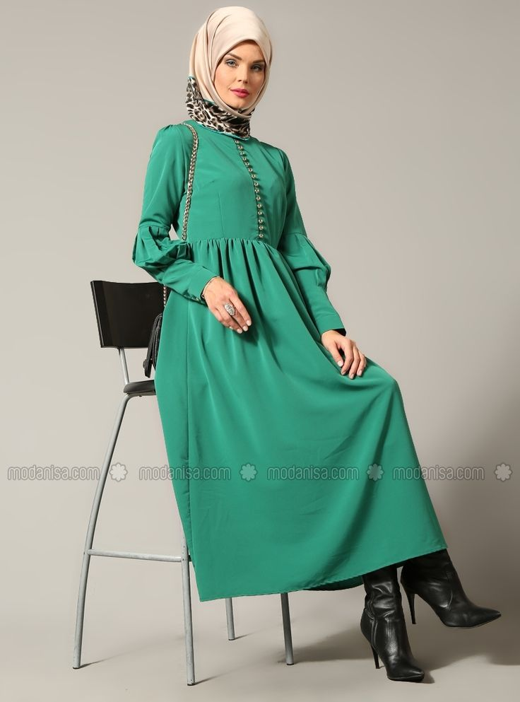 Britli Elbise - Yeşil - Refka