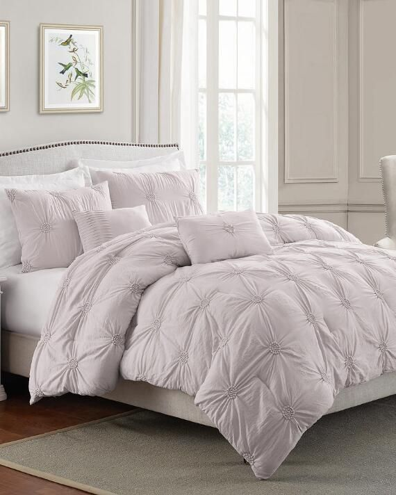 Swift Home 3 Piece Floral Ruched Pinch Pleat Pintuck Microfiber Comforter Set | Twin