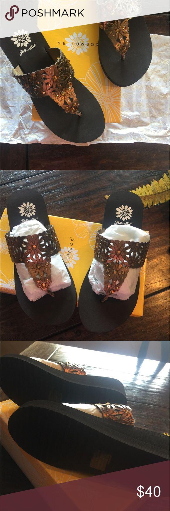 New Bronze Yellow Box Wedge Flip Flop Bronze Floral Pattern with Bronze Rhinestones.  Wedge flip flop. Yellow Box Shoes Sandals