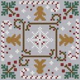 Cross-stitch Christmas biscornu ... no color chart available, just use the pattern chart as your color guide.. or choose your own colors...