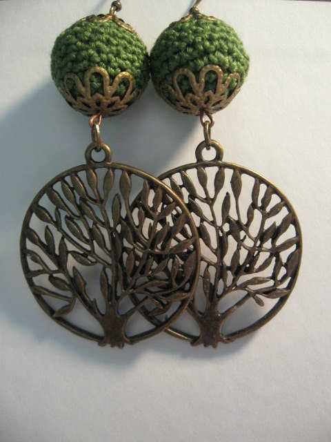 Olive Tree Earrings with Crochet Beads in Green. $12.00, via Etsy.