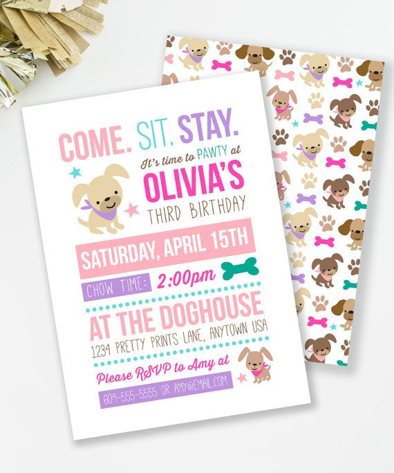 Puppy Birthday Invitation, Puppy Pawty, Girl Birthday Party, Dog Birthday Invite, Girls Party Invite, Dog Party, Printable Invite,