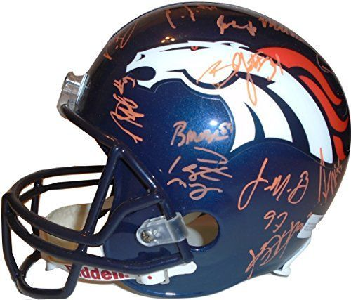 2014-2015 Denver Broncos Team Autographed / Signed Riddell Full Size Football Helmet w/ 32 Sigs Total Including Peyton Manning, Proof Photos