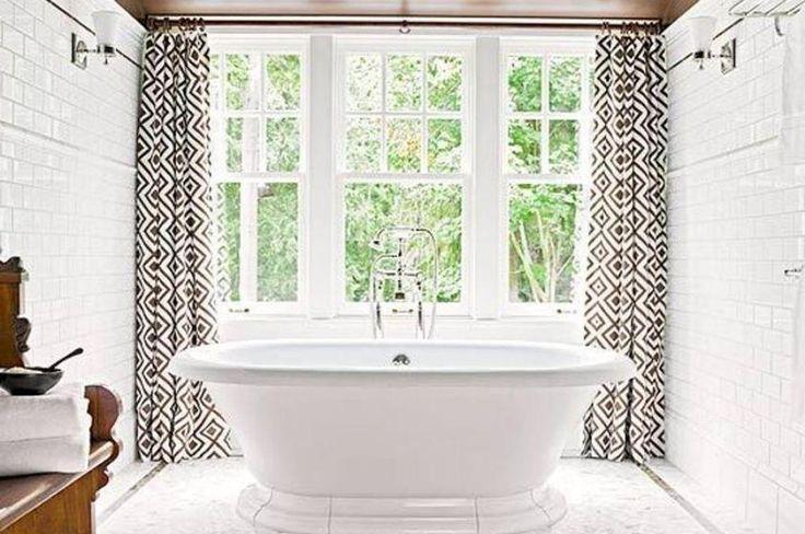 Modern Bathroom Windows Curtains With Romans Shades Black And White Pattern Windows