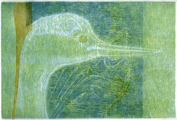 Jurgita Gerlikaite. A Bird. 2005. Woodcut on rice paper. Inspired by 'Birds' & David Attenborough