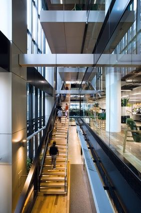 The long primary communication stair has been built in an existing peripheral…