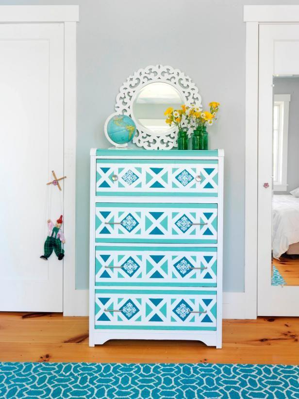 Geometrical painted dresser in aqua blue