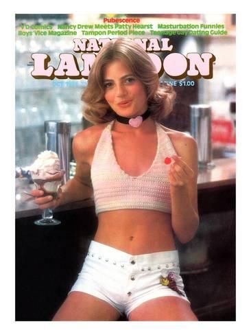 National Lampoon, October 1974 - Pubescence, Girl with Sundae and Cherry and Little White Shorts Art at AllPosters.com