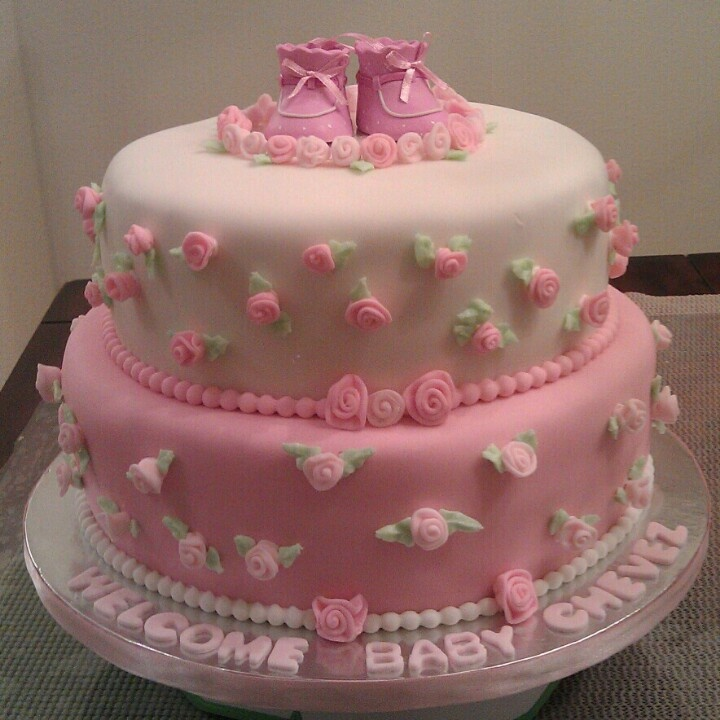 Baby Shower Decorated Cakes: Rose Bud Baby Shower Cake