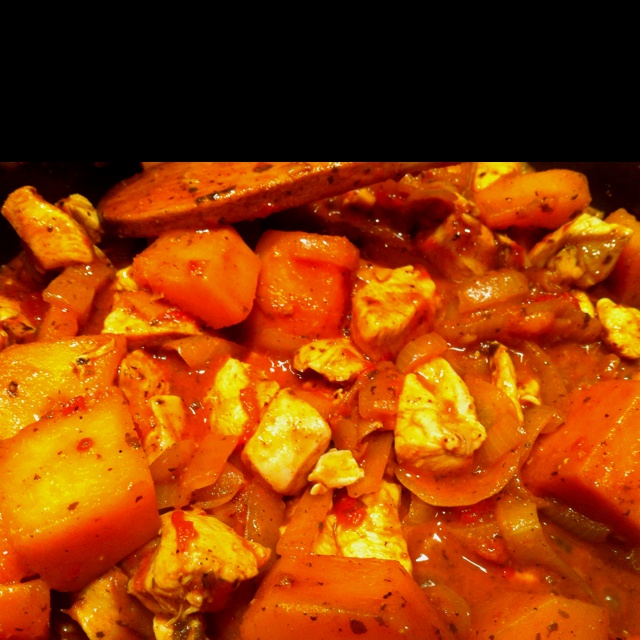 Moroccan chicken with butternut squash.