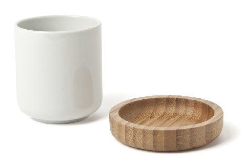 IVARY Teetasse mit Untersetzer Porzellan mit Bambus-Holz 7 x 8 cm rechteckig weiß /braun