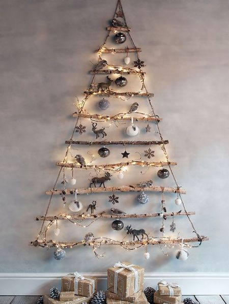 HOME DZINE Craft Ideas   Make a wall mounted christmas tree with LED fairy lights