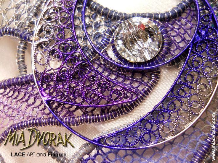 """Galaxy Blue"" - Mia Dvorak - Lace Art and Design Bohemian Needle Lace 2014, Filigree of Filigranart, Swarovski Elements - September 2014 - detail #merlettoadagoboemo #bohemianneedlelace #miadvorak New creation..."