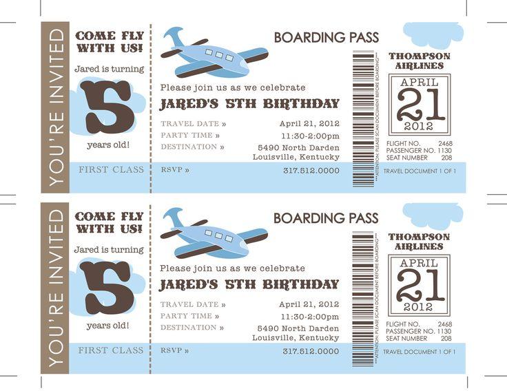 21 best Festa Ursinho Aviador images on Pinterest Airplane party - airplane ticket invitations