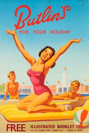 Butlins for your Holiday, 1950s - original vintage poster listed on AntikBar.co.uk #Butlins #SummerHoliday #Heatwave