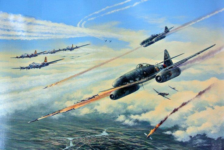 New Nazi Weapon, by Marii Chernev (Messerschmitt Me 262 with Rockets)