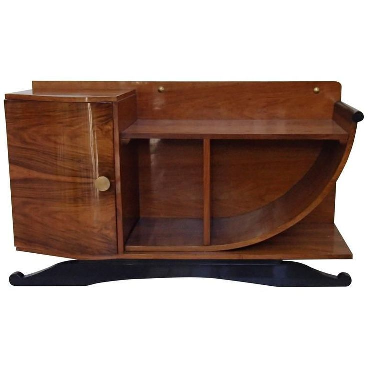 Art Deco Console or Sideboard Walnut U-Shaped Side Black Legs | From a unique collection of antique and modern sideboards at https://www.1stdibs.com/furniture/storage-case-pieces/sideboards/ #artdecofurniture