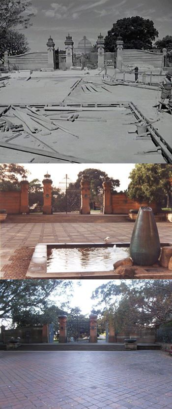The Garden Palace Gates rebuilt in Macquarie st entrance to the Botanic Gardens 1962. Then in 1986 featuring a wishing well to 2015 where even the ibis approve. [City of Sydney Archives/2015 Kevin Sundgren. By Kevin Sundgren]