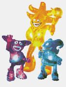 Corea/Japón 2002. Los Spheriks (Kaz, Ato y Nik): Un entrenador: Ato (amarillo) y dos futbolistas: Kaz (violeta) y Nik (celeste); todos ellos hechos de energía