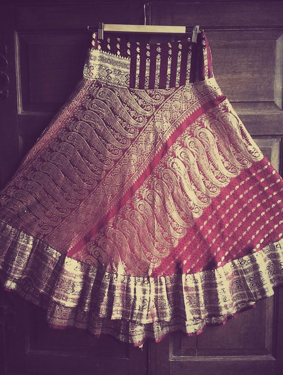 M-L, Upcycled Silk Sari, Deep red, Silver, long skirt, M-L