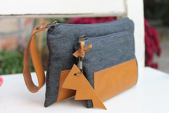 Double unisex wallet,Canvas and leather coin purse,Wristlet money case,mini cluch gift for your love