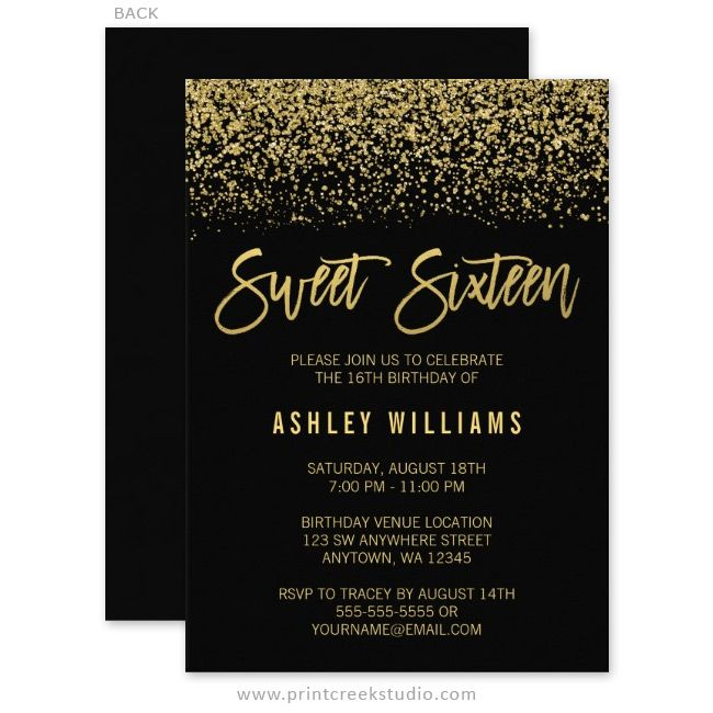 Glamorous black and gold glitter sweet 16 birthday party invitations.