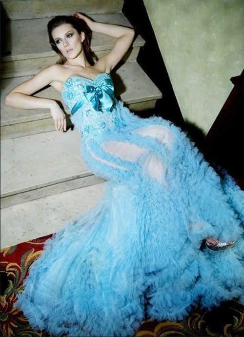 turquoise gown