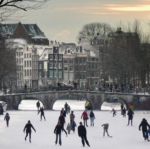 Amsterdam canals in wintertime