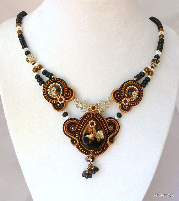 Black and Brown Soutache Necklace with by ZinaDesignJewelry, $130.00
