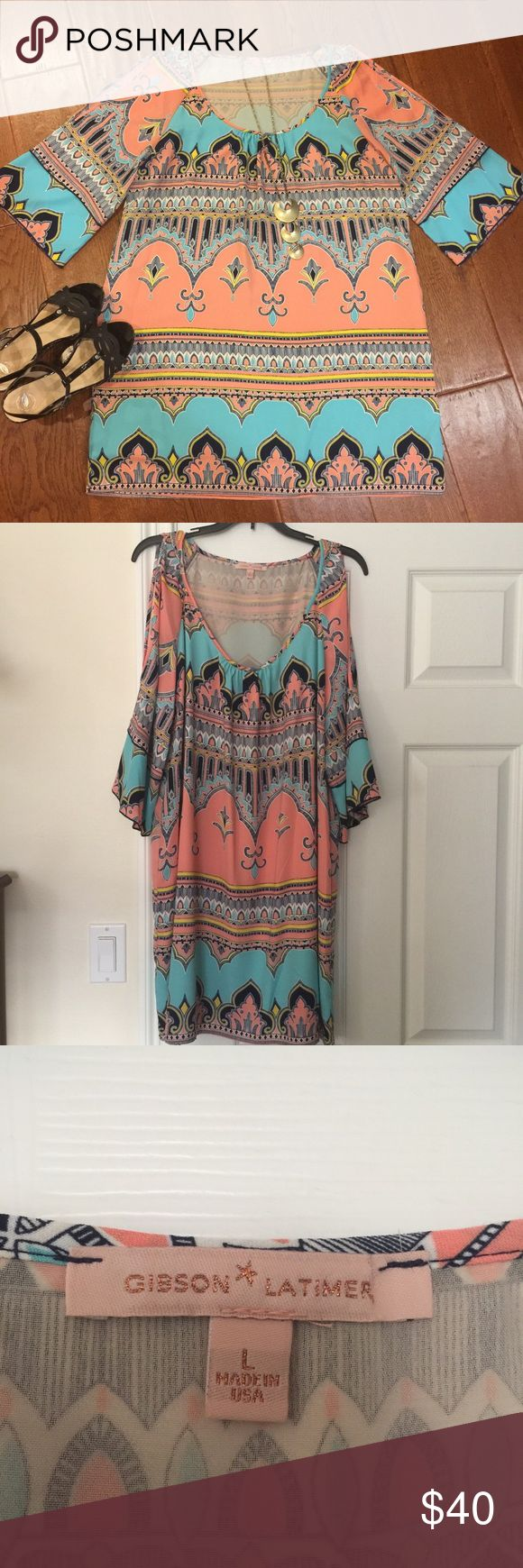 """🐣SALE🐥Beautiful Moroccan tile dress Show off a little in this slit-sleeve dress.  Full sleeve, fully lined, worn once. It is lovely, just too much of a departure from my """"black over black """" uniform. 😅 Gibson Latimer Dresses"""