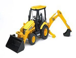 The JCB Midi CX Backhoe Loader from the Bruder Construction collection - Discounts on all Bruder Toys at Wonderland Models.    One of our favourite models in the Bruder Construction range is the Bruder JCB Midi CX Backhoe Loader.    This Bruder JCB Midi CX Backhoe Loader features full floating front axle suspension, fully working front loader with shovel and backhoe, a swivelling driver's seat (to allow operation of the backhoe), changeable front and rear scoops and folding support legs.