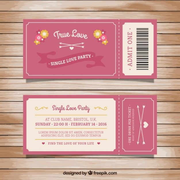 Ticket for single love party Free Vector