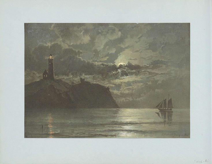 Anonymous | Reproductie van een schilderij met een vuurtoren bij nacht van C. Frederick Sörensen, Anonymous, 1862 - 1876 | Onderdeel van Reisalbum met foto's en tekeningen van Manuel Mayo 1876.