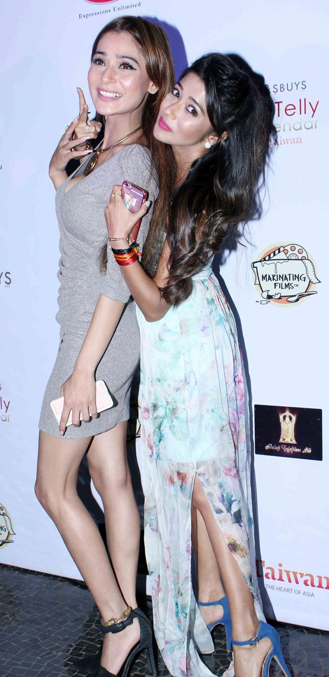 Sara Khan and Tina Dutta at 5th Edition of the Telly Calendar announcement event. #Bollywood #Fashion #Style #Beauty #Sexy