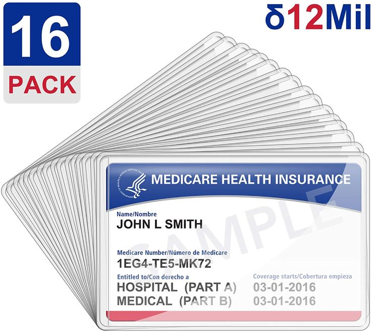 Amazon Com 16pack New Medicare Card Holder Protector Sleeves 12mil Clear Pvc Soft Waterproof Medical Card Protec Card Holder Emergency Prepping Card Sleeves