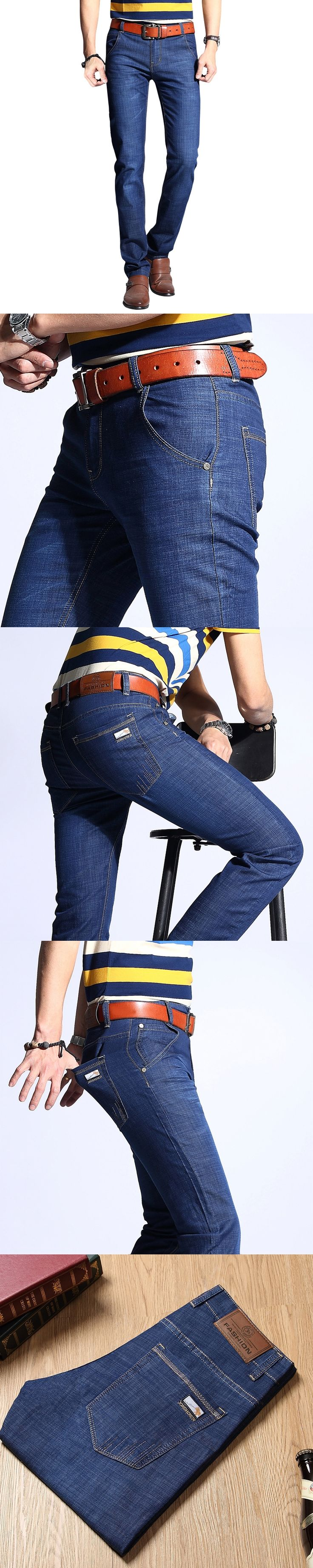 Brand New Fashion Mens Jeans Slim Stretch Pants Thin Denim Trousers Size 32 34 36 38 40  Lightweight Summer Jeans for Men
