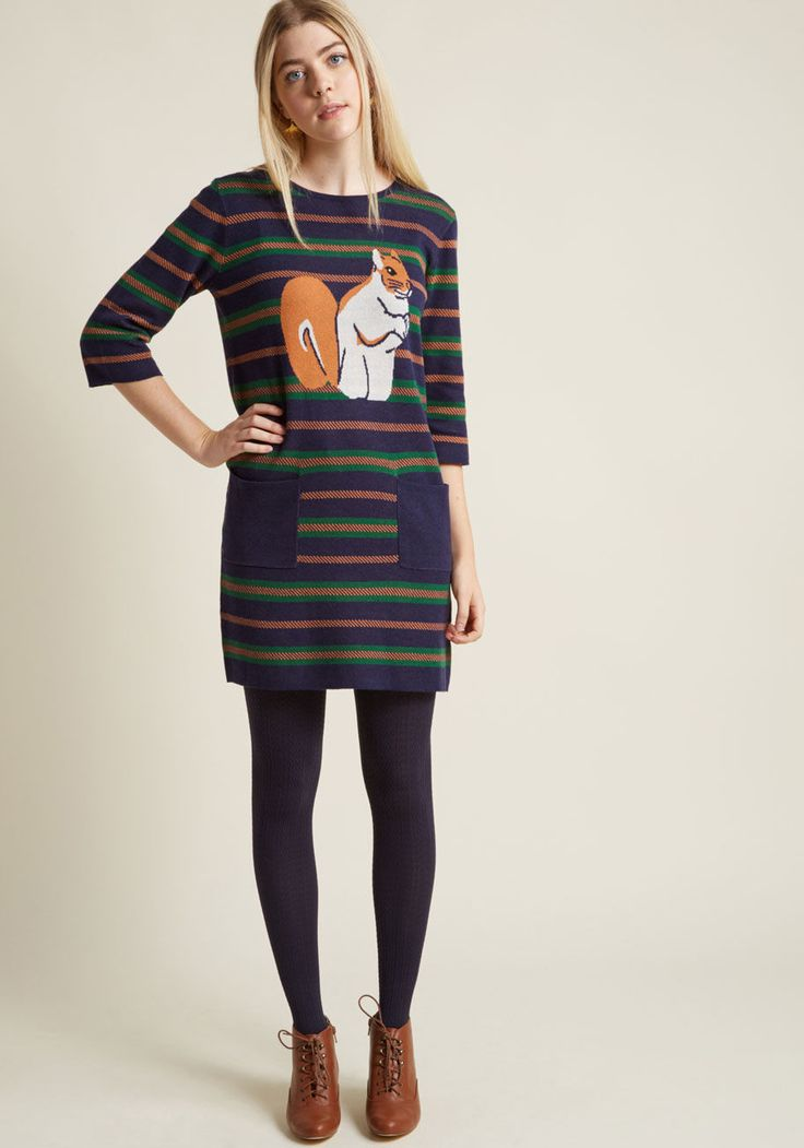 Squirrel Talk Sweater Dress with Pockets