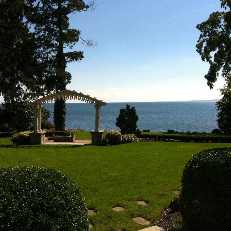 Formal lakeside garden.