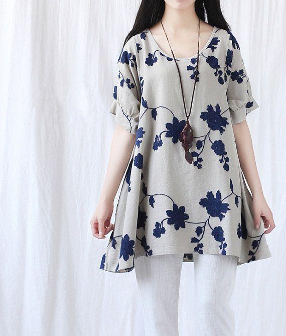 Summer loose fitting Long Shirt Women Short Sleeved by MaLieb, $79.00