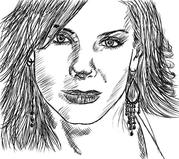 Tentativa de retratar a Sandra Bullock.