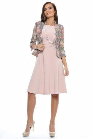 Tinuta sacou elegant jacard supraimprimat cu guler sal si rochie uni clos cu teturi talie.