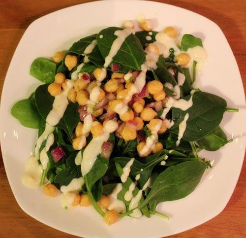 Chickpea And Spinach Salad With Cumin Dressing Recipe — Dishmaps