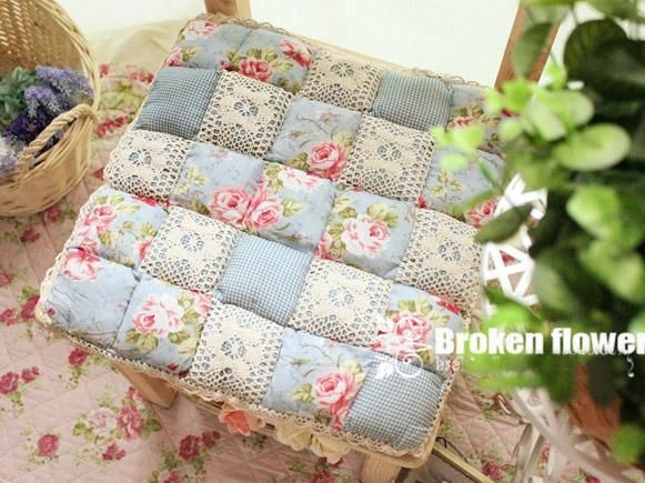 Floral Rose Blue Quilted Cotton Chair Seat Cushion Pad Mat Country Cottage