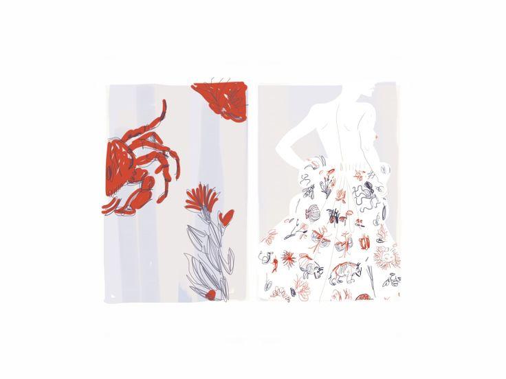 Valentino sea pattern - Open Toe, fashion illustrated / Opentoeillustration.com