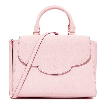 Makayla Satchel by Kate Spade New York. A pebbled leather Kate Spade New York satchel with a scalloped flap pocket in front. Top zip and pinstriped, 3 pocket...